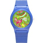 Green Organic Abstract Round Plastic Sport Watch (S)