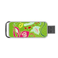 Green Organic Abstract Portable Usb Flash (one Side) by DanaeStudio
