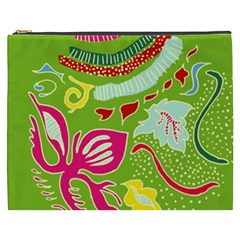 Green Organic Abstract Cosmetic Bag (xxxl)  by DanaeStudio