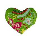Green Organic Abstract Standard 16  Premium Heart Shape Cushions