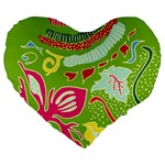 Green Organic Abstract Large 19  Premium Heart Shape Cushions