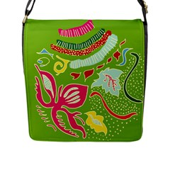 Green Organic Abstract Flap Messenger Bag (l)  by DanaeStudio