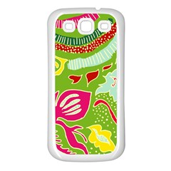 Green Organic Abstract Samsung Galaxy S3 Back Case (white) by DanaeStudio