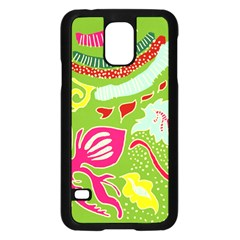 Green Organic Abstract Samsung Galaxy S5 Case (black) by DanaeStudio