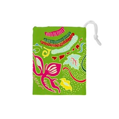 Green Organic Abstract Drawstring Pouches (small)  by DanaeStudio