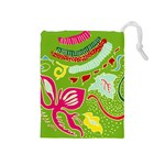 Green Organic Abstract Drawstring Pouches (Medium)