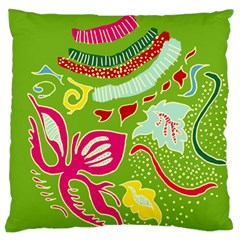 Green Organic Abstract Large Flano Cushion Case (one Side) by DanaeStudio