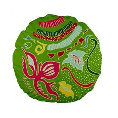 Green Organic Abstract Standard 15  Premium Flano Round Cushions by DanaeStudio