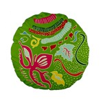 Green Organic Abstract Standard 15  Premium Flano Round Cushions