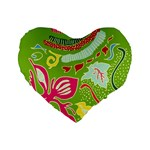 Green Organic Abstract Standard 16  Premium Flano Heart Shape Cushions