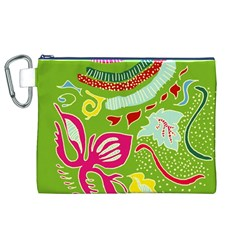 Green Organic Abstract Canvas Cosmetic Bag (xl) by DanaeStudio