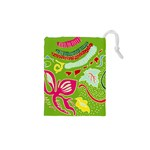 Green Organic Abstract Drawstring Pouches (XS)