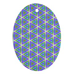 Colorful Retro Geometric Pattern Ornament (oval)  by DanaeStudio