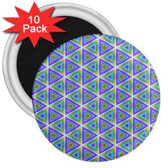 Colorful Retro Geometric Pattern 3  Magnets (10 Pack)  by DanaeStudio