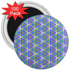 Colorful Retro Geometric Pattern 3  Magnets (100 Pack) by DanaeStudio