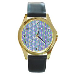 Colorful Retro Geometric Pattern Round Gold Metal Watch by DanaeStudio