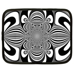 Black And White Ornamental Flower Netbook Case (xl)  by designworld65