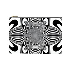 Black And White Ornamental Flower Cosmetic Bag (large)  by designworld65