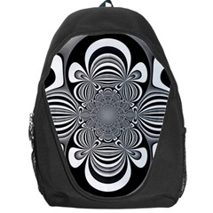 Black And White Ornamental Flower Backpack Bag by designworld65