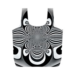 Black And White Ornamental Flower Full Print Recycle Bags (m)  by designworld65