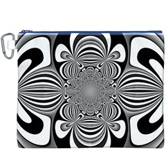 Black And White Ornamental Flower Canvas Cosmetic Bag (xxxl) by designworld65