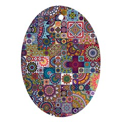 Ornamental Mosaic Background Ornament (oval)  by TastefulDesigns