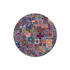 Ornamental Mosaic Background Rubber Round Coaster (4 Pack)  by TastefulDesigns