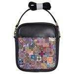 Ornamental Mosaic Background Girls Sling Bags