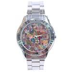 Ornamental Mosaic Background Stainless Steel Analogue Watch