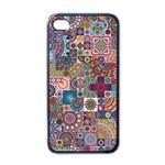 Ornamental Mosaic Background Apple iPhone 4 Case (Black)