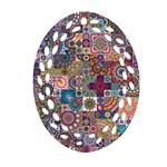 Ornamental Mosaic Background Ornament (Oval Filigree)