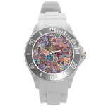 Ornamental Mosaic Background Round Plastic Sport Watch (L)