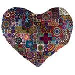Ornamental Mosaic Background Large 19  Premium Heart Shape Cushions