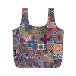 Ornamental Mosaic Background Full Print Recycle Bags (M)
