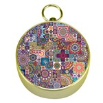 Ornamental Mosaic Background Gold Compasses