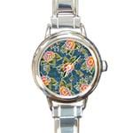 Floral Fantsy Pattern Round Italian Charm Watch