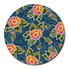 Floral Fantsy Pattern Round Mousepads by DanaeStudio