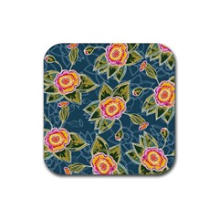 Floral Fantsy Pattern Rubber Square Coaster (4 Pack)  by DanaeStudio