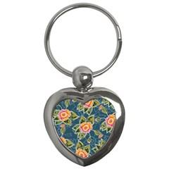 Floral Fantsy Pattern Key Chains (heart)  by DanaeStudio