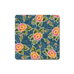 Floral Fantsy Pattern Square Magnet by DanaeStudio