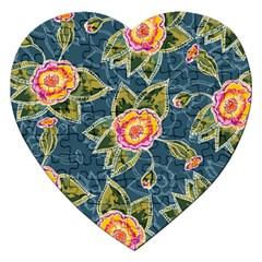 Floral Fantsy Pattern Jigsaw Puzzle (heart) by DanaeStudio