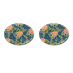 Floral Fantsy Pattern Cufflinks (oval) by DanaeStudio