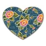 Floral Fantsy Pattern Heart Mousepads