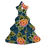 Floral Fantsy Pattern Christmas Tree Ornament (2 Sides)
