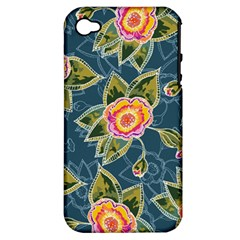 Floral Fantsy Pattern Apple Iphone 4/4s Hardshell Case (pc+silicone) by DanaeStudio