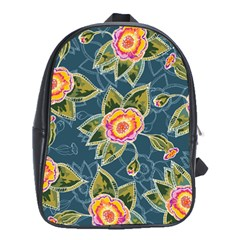 Floral Fantsy Pattern School Bags (xl)  by DanaeStudio