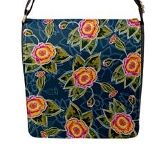 Floral Fantsy Pattern Flap Messenger Bag (l)  by DanaeStudio