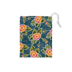 Floral Fantsy Pattern Drawstring Pouches (small)  by DanaeStudio