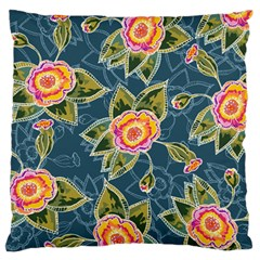 Floral Fantsy Pattern Large Flano Cushion Case (one Side) by DanaeStudio