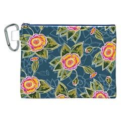 Floral Fantsy Pattern Canvas Cosmetic Bag (xxl) by DanaeStudio